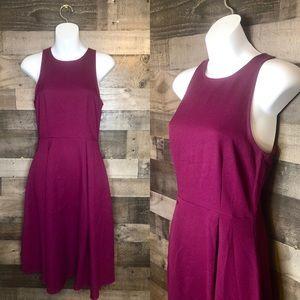Everly Sleeveless Pleated Purple Wine Midi Dress